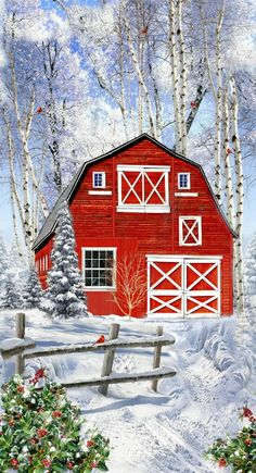 Winter Christmas Scenes, Winter Scenes, Christmas Art, Christmas Horses, Woodland Christmas, Christmas Fabric Panels, Big Red Barn, Winter Painting, Red Barn Painting