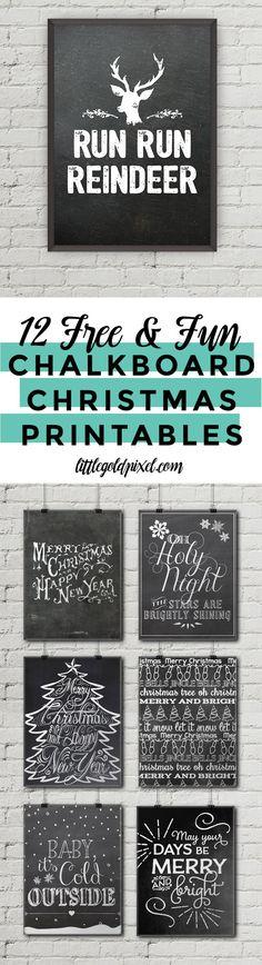 12 Free Chalkboard Christmas Printables •Little Gold Pixel