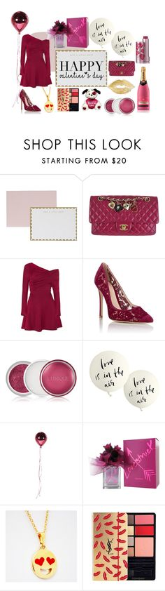"""""""Happy Valentine's Day!"""" by mimitastic ❤ liked on Polyvore featuring Studio Sarah, Chanel, Gianvito Rossi, Clinique, Kate Spade, Vera Wang, Yves Saint Laurent, women's clothing, women and female"""
