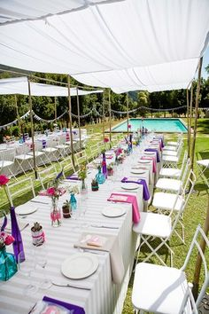 Outdoor Celebration of Love & Colour {Winelands Wedding}   Confetti Daydreams - Shaded outdoor wedding tables ♥  ♥  ♥ LIKE US ON FB: www.facebook.com/confettidaydreams  ♥  ♥  ♥