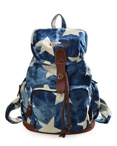 Stars Print Cute Canvas School Bag Casual Rucksack Travel Laptop Backpack  Denim Backpack 6961b7bc32ec6