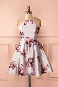 A-Line Halter Backless Flowers Print Ivory Stain Homecoming Dress, Shop plus-sized prom dresses for curvy figures and plus-size party dresses. Ball gowns for prom in plus sizes and short plus-sized prom dresses for Backless Homecoming Dresses, Hoco Dresses, Dance Dresses, Dress Outfits, Fashion Dresses, Summer Dresses, Formal Dresses, Wedding Dresses, Bridal Gowns