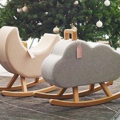 Rocking chairs by Maison Deux. These cute rocking horses are the perfect christmas gift. The rocking moon an rocking cloud are available at Visit Batch.