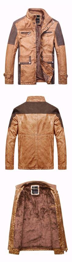 Stand Collar Stitching PU Leather Motorcycle Jacket