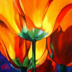 Marcia Baldwin: Abstract Poppies ... would make a beautiful art quilt