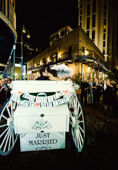 Horse-Drawn Carriage and Second Line Parade. #justmarried #exit #carriage