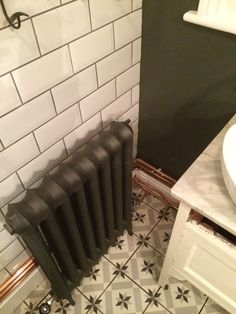 Edwardian radiator, exposed copper & great tiles installed in Nunhead Tile Installation, Radiators, Bathrooms, Tiles, Copper, Home Appliances, Spaces, Modern, Room Tiles