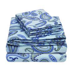 Simple Luxury Flannel Cotton Sheet Set Size: Twin, Color: Light Blue Paisley