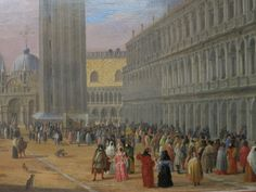 Luca Carlevalis' carnival figures in the Piazza San Marco.