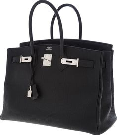 Hermes 35cm Black Togo Leather Birkin Bag with Palladium Hardware BlackTogo leather exterior with two top handles, lock and clochette, andpalladium hardware. Interior is matching Chevre leather with oneslip pocket and one zip pocket.In Very Good to Excellent Condition. Bottom corners show lightwear.Condition Rankings:Pristine- Perfect condition and presents as brand new. http://www.foryoubest.com