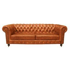 Chesterfield soffa 3-sits, konjaksbrun | TheHome.se