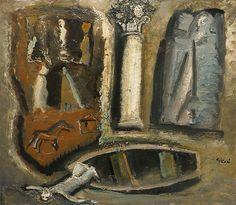 Mario Sironi (1885–1961), Composizione, 1950, Olio, Tela, 60 x 70 cm