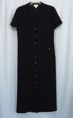 Womens TALBOTS Black Button Front Full-Length Career Casual Maxi Dress, Size 8 #Talbots #Maxi #LittleBlackDress