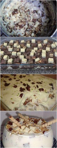 CREME DE BIS fica simplesmente maravilho!! VEJA AQUI>>>Coloque o leite, o leite condensado e o açúcar de baunilha em uma panela e leve ao fogo Quando começar a levantar fervura, acrescente as gemas com a maizena diluída em 1/2 copo de água #receita#bolo#torta#doce#sobremesa#aniversario#pudim#mousse#pave#Cheesecake#chocolate#confeitaria Chocolate Bis, Sweet Life, Mousse, Creme, Deserts, Recipes, Milkshakes, Clip Art, Chocolate Sweets
