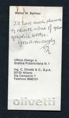Walter Ballmer | Olivetti Business Card