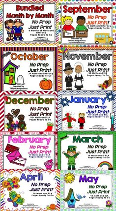 9 Months of Kindergarten No Prep Math and Literacy activities