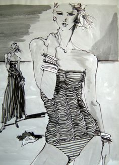 Fashion illustration by Kenneth Paul Block, ca. 1980, Marker, Graphite and Wash.
