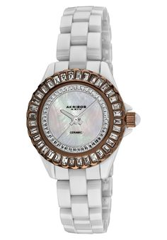 black and white and shiny :) Akribos XXIV Women's White Mother of Pearl White Ceramic Online Watch Store, Rolex Watches, Wrist Watches, White Ceramics, Bracelet Watch, Cool Things To Buy, Jewelry Watches, Quartz, Crystals
