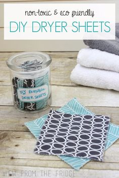 Why use the TOXIC store bought dryer sheets? These DIY Homemade Dryer Sheets only require a couple ingredients and are SO MUCH healthier for your family! From View From The Fridge Frugal Living Tips Homemade Cleaning Products, Natural Cleaning Products, Natural Products, Eco Products, Natural Living, Organic Living, Homemade Dryer Sheets, Laundry Hacks, Laundry Rooms