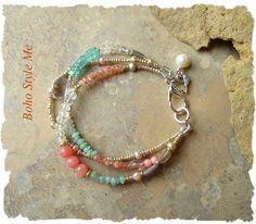 Boho Multi-Strand Gemstone Bracelet Aqua Blue by BohoStyleMe