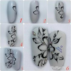 Excellent simple ideas for your inspiration Cute Acrylic Nails, Cute Nails, Pretty Nails, Tulip Nails, Flower Nails, Nail Art Hacks, Easy Nail Art, Swirl Nail Art, Nail Drawing