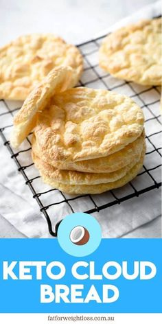 "Cloud bread is a great substitute for bread on the ketogenic diet. The term ""cloud"" comes from the fact that its quite light and fluffy tasting, which comes from the egg whites being mixed and folded into the rest of the recipe. Sugar Free Recipes, Low Carb Recipes, Bread Recipes, Easy Recipes, Ketogenic Recipes, Ketogenic Diet, Low Carb Burger Buns, Bread Substitute, Cloud Bread"