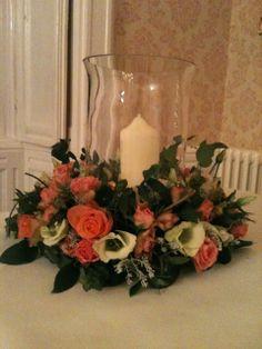 Hurricane vase table decoration