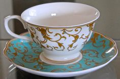 GRACE'S TEAWARE 2 TEACUP & SAUCER SETS  TURQUOISE & GOLD DESIGN PORCELAIN NEW #GRACESTEAWARE