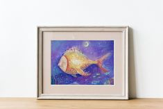 Fish Art Print/ Fantasy Art Print/ Sea Art Print/ Fairy tale art print/ Nursery Wall Decor/ Kids Illustration/ Surreal Illustration Print Oil Pastel Paintings, Kids Room Paint, Fairytale Art, Sea Art, Fish Art, Nursery Wall Decor, Painting For Kids, Surrealism, Fantasy Art