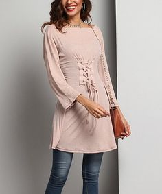Love this Mauve Ribbed Wide-Neck Corset Waist Tunic on #zulily! #zulilyfinds