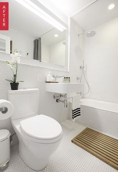 *** reno'd b&w bath... penny tile floor & walls, sink with towel bar, shower curtain on ceiling mount hospital style rail, wood mat adds warmth, could do vintage style sink and toilet,