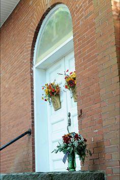 Fall wedding church doors