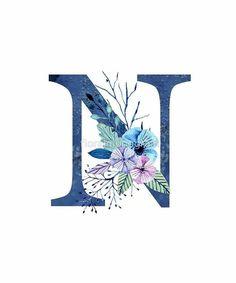 N Letter Design, Alphabet Letters Design, Fancy Letters, Flower Letters, Alphabet Art, Alphabet And Numbers, Letter Art, Alphabet Wallpaper, Name Wallpaper