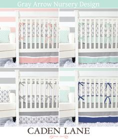 Caden Lane's exclusive gray arrow and mint triangle crib sets come in a variety of colors including coral, navy, mint, and pink!