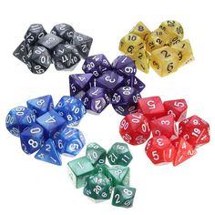 Nouvelle arrivée 7 Pcs/Set résine polyédrique TRPG jeux pour Dungeons Dragons Opaque D4-D20 Multi côtés dés Pop pour jeu de jeu