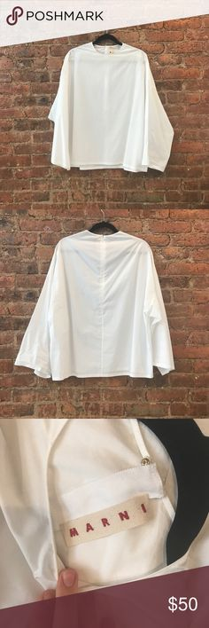 Marni White Blouse Wide bell sleeve, brand new, like a size medium. Marni Tops Blouses
