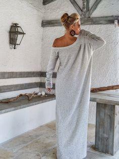 Korting op witte Winter Wool Boucle Maxi jurk / Winter Warm lange jurk / asymmetrische Plus Size jurk / Oversize losse jurk / #35159