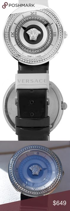 Versace Black Silver V-Metal Icon Watch Medusa Antiquated details like Versace's iconic Medusa cameo, Greek keys and Roman numerals refine this gorgeous watch. Two quartz-powered watch hands in triangular shapes reinforce the well-measured intrigue of this design.  Silver-tone Hardware Medusa Icon in center of face Chain style accents Italian Sizing Adjustable Patent Leather Band 40mm case Buckle closure. Swiss quartz movement. Sapphire crystal face. Stainless steel/leather. By Versace…