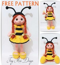 Crochet bee girl doll - free amigurumi pattern // Horgolt méhecske lány baba - ingyenes amigurumi minta // Mindy - craft tutorial collection // #crafts #DIY #craftTutorial #tutorial