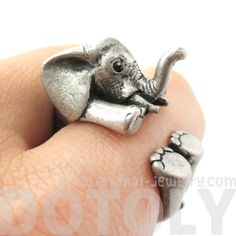 3D Baby Elephant Animal Wrap Around Ring in Silver   Size 5 to 8.5   animalwraprings - Jewelry on ArtFire $12.50 #elephants #animals #jewelry #rings #cute