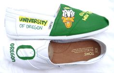 I have never worn Toms but I would wear these. University of Oregon Custom TOMS Painted on White by FruitfulFeet, $135.00