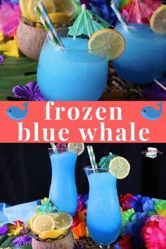 Frozen Blue Whales are the perfect summer drink recipe! #summer #summerdrink #summerparty #frozendrink #adultdrink #vodka #cocktail #bluewhale #summer #slushy #lemonade