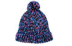 Beanie hat with pom pom, knit, black, blue, pink item VBP9