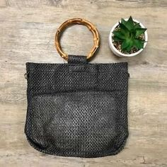 Bianca Bamboo Handled Bag in Black Leather Tooling, Leather Clutch, Boho Bags, Vintage Leather, Rattan, Louis Vuitton Damier, Purses And Bags, Wallets, Bamboo