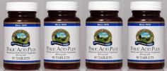 """FOLIC ACID PLUS (90 TABLETS), Mineral and Herb Dietary Supplement, Kosher, 400 mcg, """"FAST SHIPPING"""" 4 PACK SAVING! Nature's Sunshine,"""