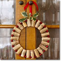 A wine cork wreath for the holidays!