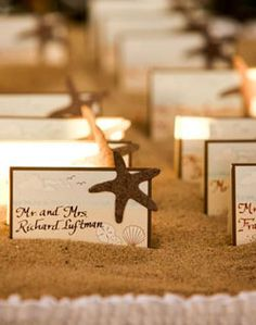 beach idea place cards - change starfish to sand dollars