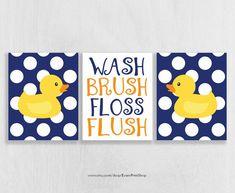 Rubber Ducky Bathroom Art Prints Set Of 3   Rubber Duck Bathroom Decor    Kids Bathroom Art   Navy And Yellow Bathroom Decor