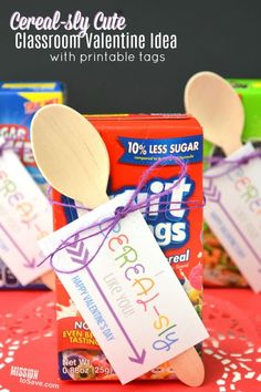 """Looking for a fun Classroom Valentine's Day party gift idea. Make these """"I CEREAL-sly Like You"""" Valentine Gifts! Bonus- comes with a Free Printable gift tag! #valentinesday #valentinesdaygifts #freeprintables"""