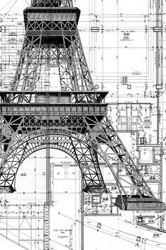 La Tour Eiffel (plan) Architecte : Gustave Eiffel & Cie Paris c. Art Et Architecture, Architecture Details, Chinese Architecture, Installation Architecture, Classic Architecture, Construction Drawings, Construction Process, Civil Engineering, Autocad